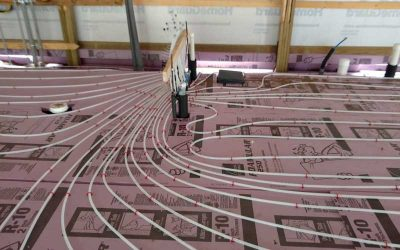 Heated flooring electrical laid out on the floor